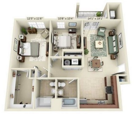 Two Bedroom Deluxe Phase 2 & 3