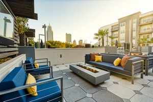 rooftop lounge seating with fire pit