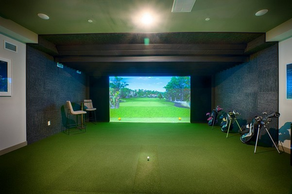 Indoor image of virtual golf game
