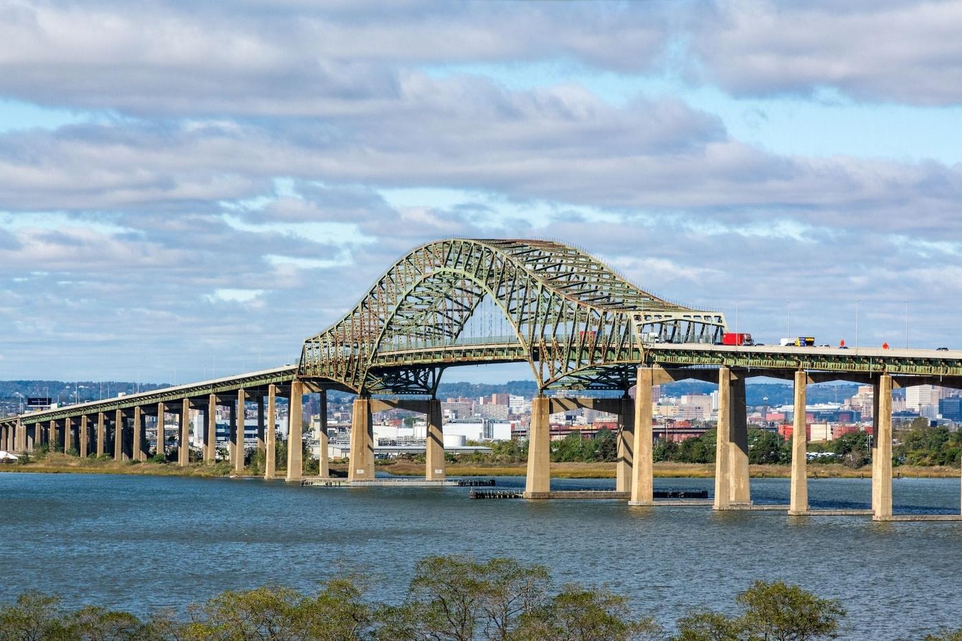 Outdoor image of city bridge over river