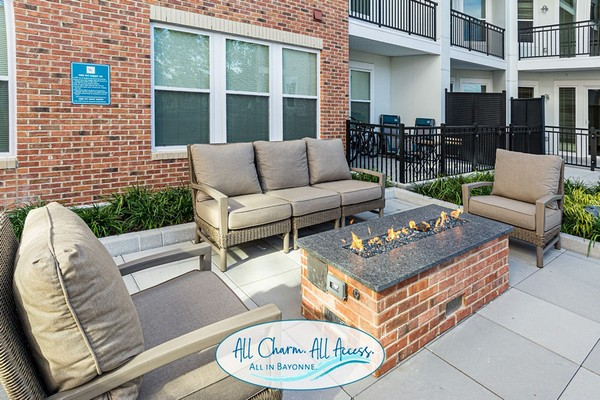 Outdoor image of patio furniture with a firepit