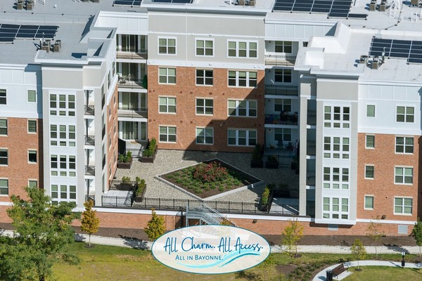 Exterior aerial view of apartment complex