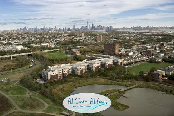 Exterior aerial view of apartment complex