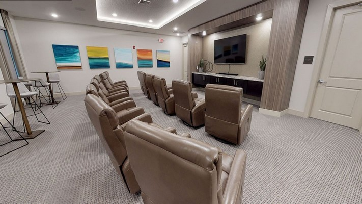 Interior image of community movie room