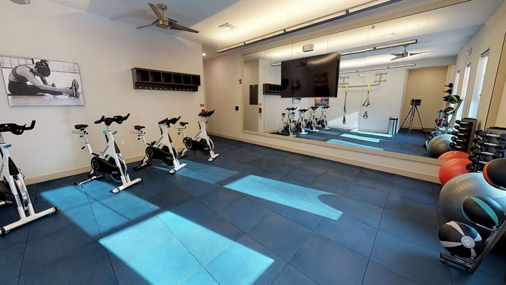 Interior image of cardio fitness room with spin cycle bikes