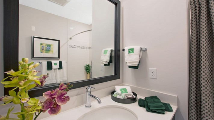 Interior image of bathroom vanity mirror and sink
