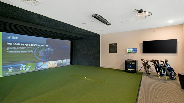 Interior image of virtual golf game room