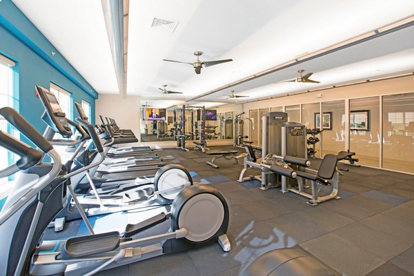 Interior image of fitness room with various types of athletic equipment