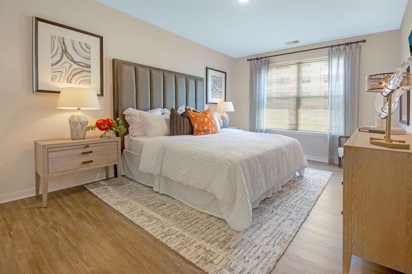 Interior image of an apartment bedroom with furniture