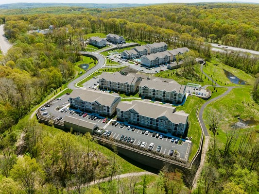 Aerial view of Woomdont Parc apartment community
