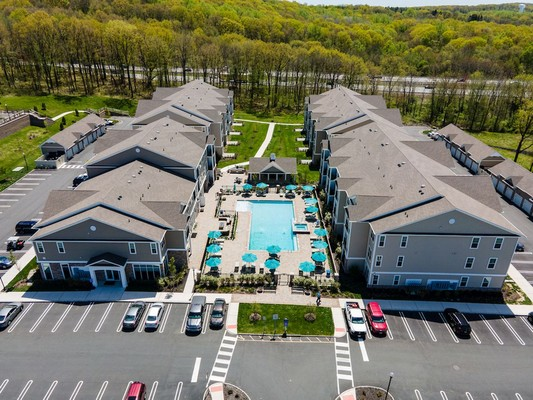 Aerial view of Apartment buildings and swimming pool