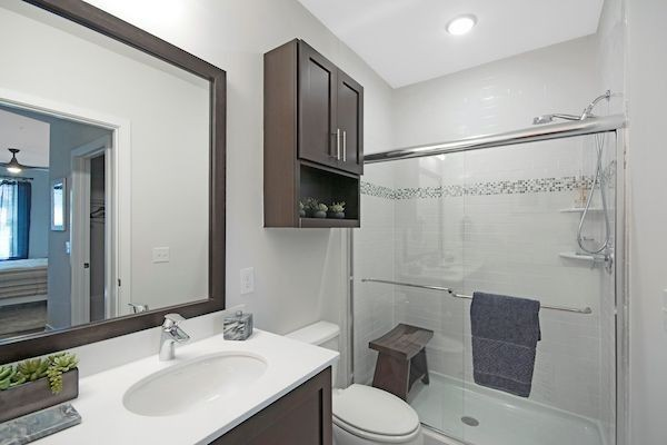 Apartment bathroom with walk-in shower