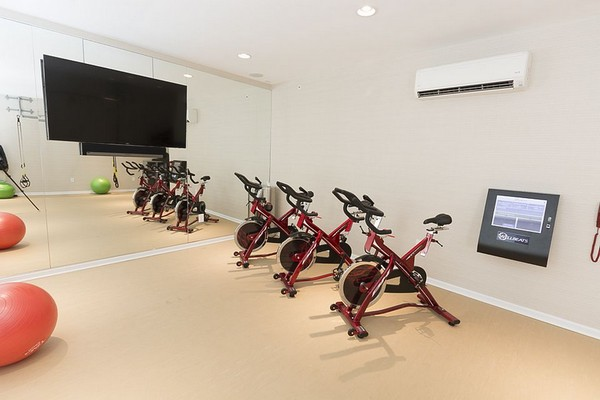 Cycling studio with stationary bikes