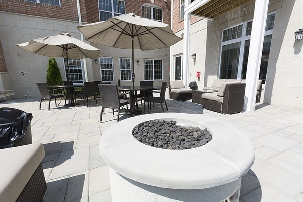 Outdoor fire pit and seating area