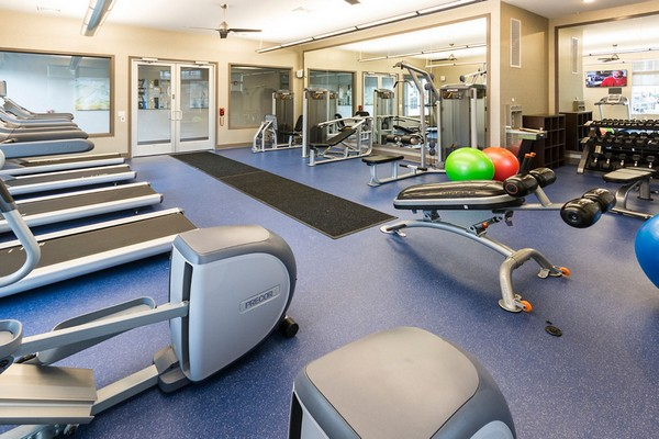 Fitness center with workout equipment and machines