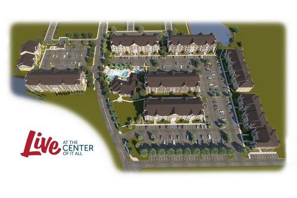 Aerial image of apartment complex