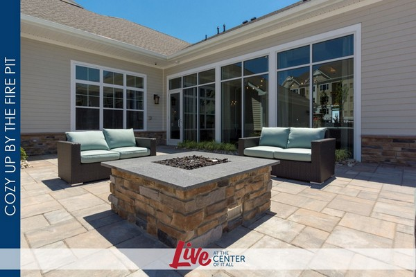 Outdoor image of patio seating area with a firepit
