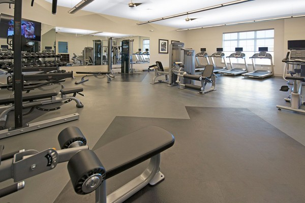 Interior image of fitness room with fitness equipment