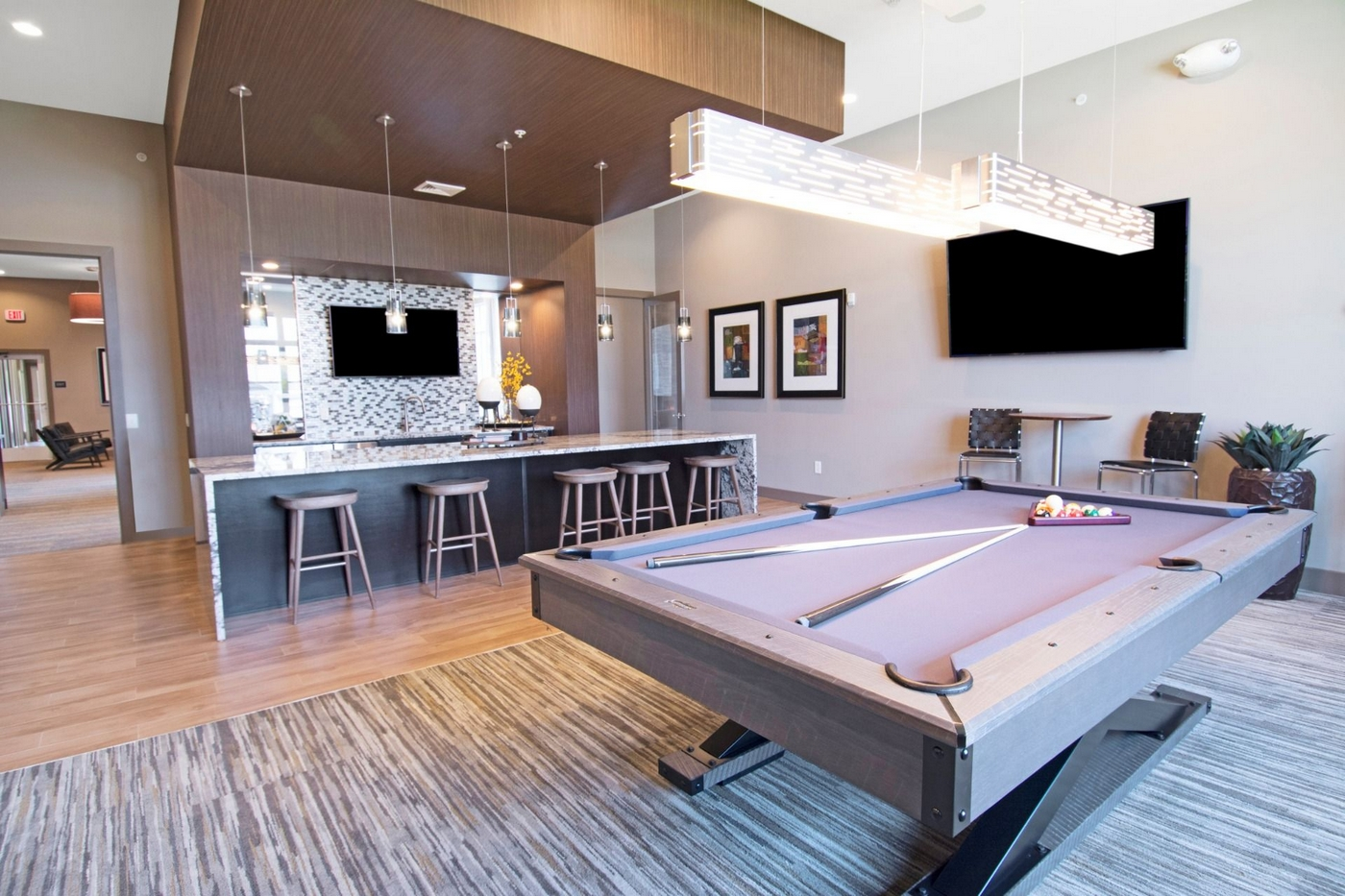 Community Game room bar and pool table