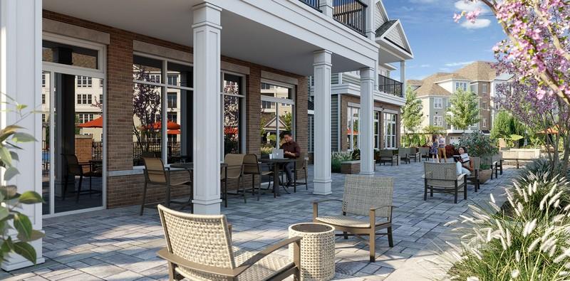 Rendering of outdoor seating area