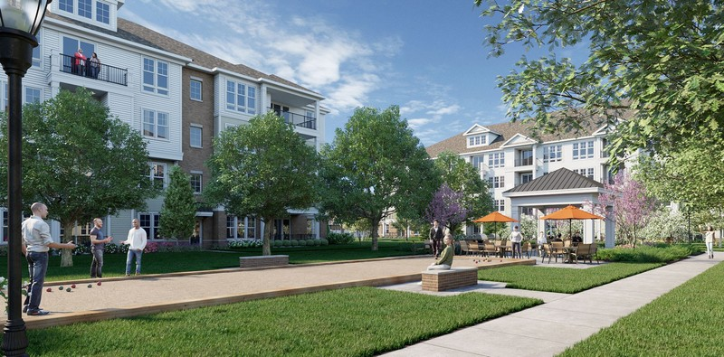 Rendering of apartment building and outdoor walkway