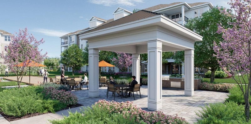 Rendering of outdoor seating area and gazebo