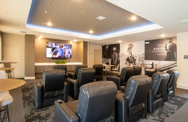Theater Room with seating and television