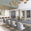 Clubroom conference table with seating area