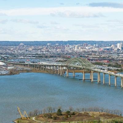 Outdoor aerial image of city bridge over river