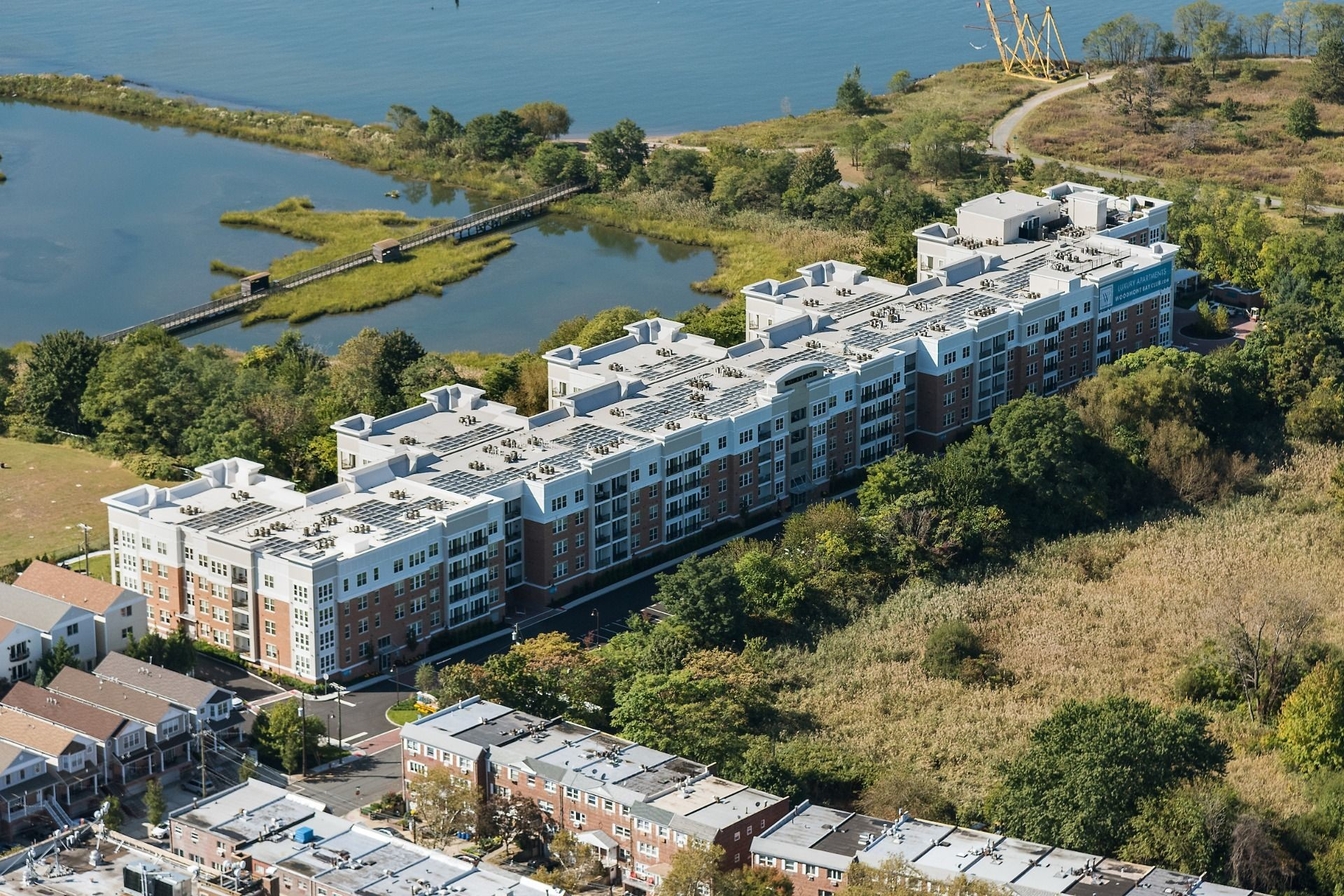 Outdoor aerial image of apartment complex