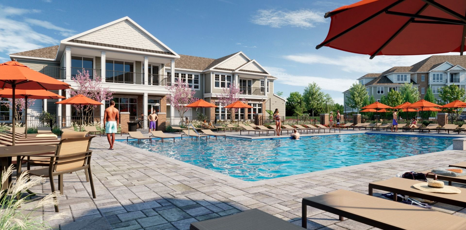 Rendering of swimming pool with seating